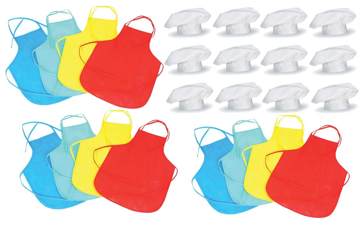 12 Sets of Kids Chef Hats & Aprons for Dress Up, Cooking Competitions, Baking or Pizza Parties