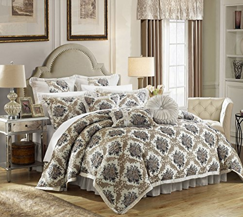 - Perfect Home 9 Piece Clermont Decorator Upholstery Quality Jacquard Floral Fabric Complete Master Bedroom Comforter Set and pillows Ensemble, King, Silver