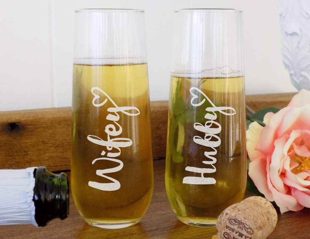 Wedding Toasting Glasses for Bride and Groom, Stemless Champagne Flutes, Hubby and Wifey Wine Glass