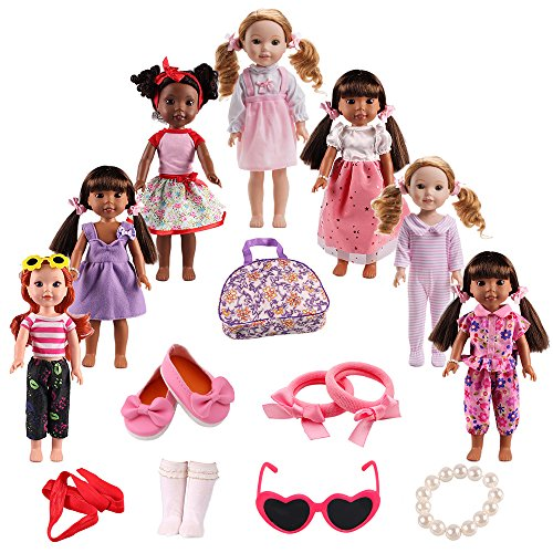 BBTOYS Doll Clothes Shoes Accessories for American girl doll chothes 14&14.5 inch Wellie Wishers Willa Dolls Doll Accessories Set