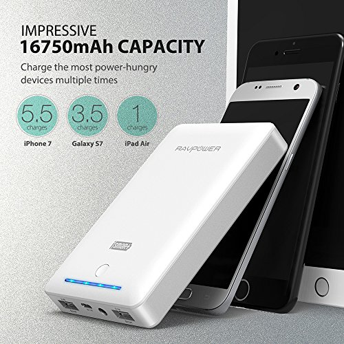 RAVPower 16750mAh 45A twice USB production lightweight Charger External Battery Pack electric power Bank by using iSmart systems White lightweight electric power Banks