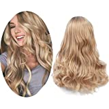 DDHAIR Ombre Blonde Wigs For Women With Middle Natural Wave Long Blonde Wig Curly Heat Resistant Synthetic Wig