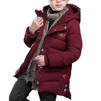 7ba5f6d9dd Mantel mit Kapuze für kinder Baby Jungen Reißverschluss-Tasten Lang  Dufflecoat Winter Baumwolle Dick Warm Outerwear Jacke Rot/Marineblau:  Amazon.de: Baby