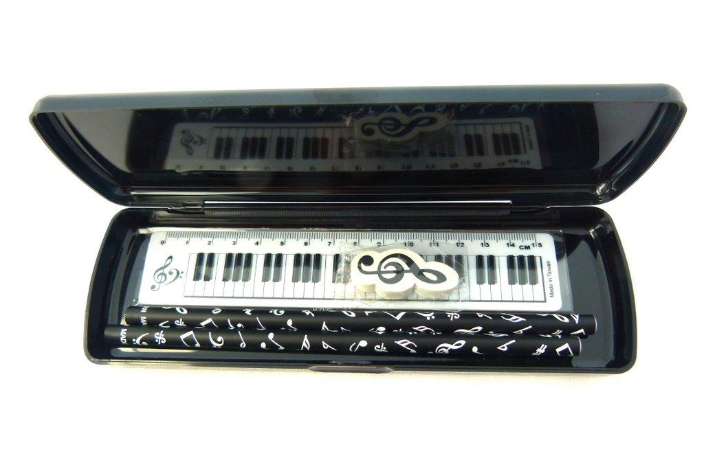righello e Gomma set di cancelleria Musica a tema bianco Spots tasti di pianoforte plastica nera cassa di matita PVC con matite