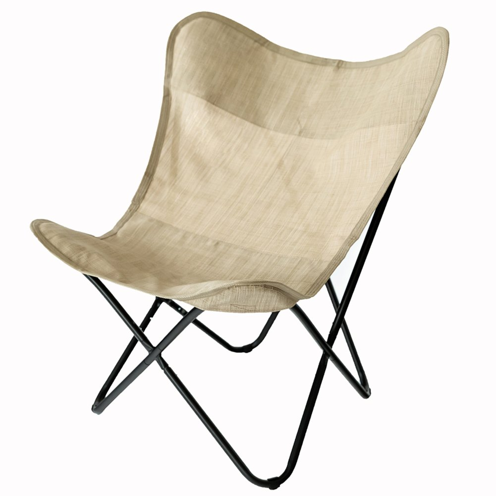 C-Hopetree Butterfly Chair, Indoor Outdoor Sling Camping Chair, Patio Deck Chair, Home Office Furniture, Black Frame, Beige Sling