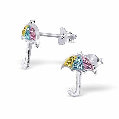 SL - Silver pendientes de los niños paraguas plata 925 cristales de coloures: Amazon.es: Joyería