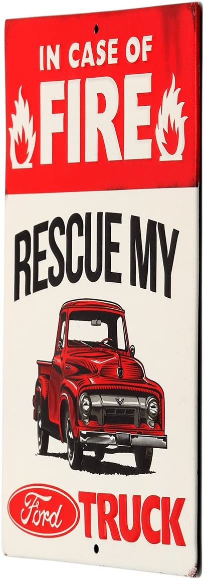 """Rescue My Ford Truck F-150 9/"""" Embossed Metal Sign Vintage Garage In Case Fire"""