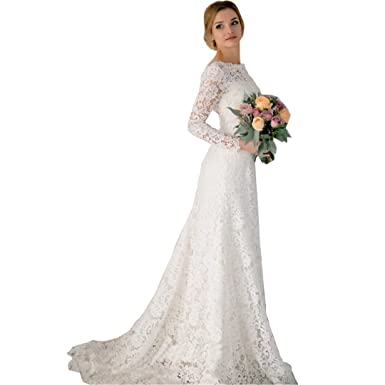 DingDingMail Romantic Lace Mermaid Wedding Dresses 2017 Long Sleeves ...