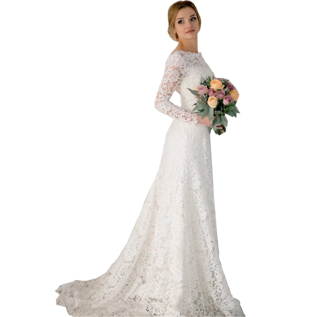 Dingdingmail Romantic Lace Mermaid Wedding Dresses Long Sleeves
