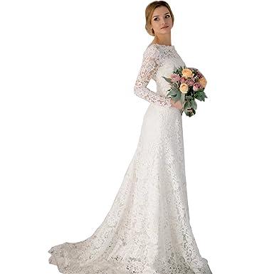 433e956b10 DingDingMail Romantic Lace Mermaid Wedding Dresses Long Sleeves Backless  Vintage Wedding Dresses Bridal Dresses at Amazon Women s Clothing store