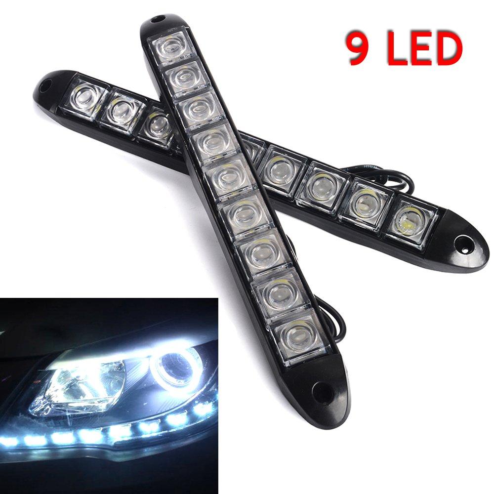 2 x 12 V 9 LED auto luci diurne bianco DRL strip Lamp Car Fog Day driving Lamp skyblue-uk
