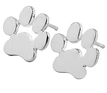 LUCKLYSTAR® Aretes Pendiente de Forma de Los Gatos y los Perros Huellas Pendientes de Plata Accesorios de Joyería Regalo de Joyería para Mujeres 1 par ...