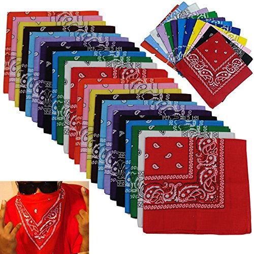- BSLINO Bandanas 24pcs 22 X 22 Inch 100% Cotton Novelty Double Sided Print Paisley Cowboy Bandana Party Favor Scarf Headband Handkerchiefs Two Dozen