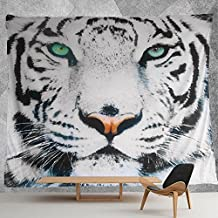 HMWR Black White Tiger Green Eyes Tapestry Wall Hanging Art Painting Wall Decor Art Home Decorations Light-weight Polyester Bedspread Picnic Bedsheet Blanket Hippie Tapestries (60x40)