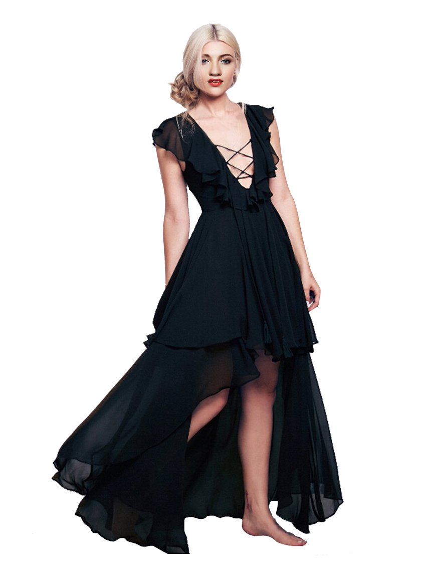 CA Mode Women's Lace Up Ruffles Evening Prom Party High Low Dress, Black, Large