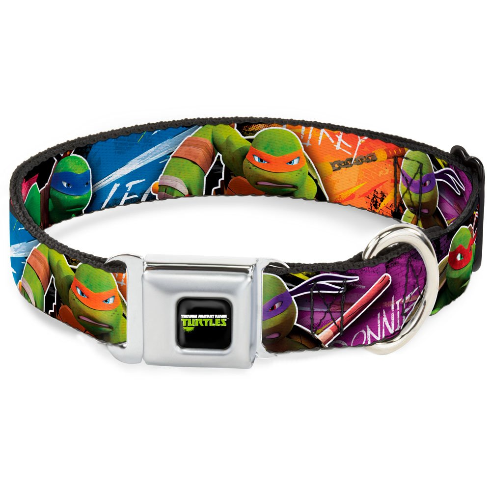 Buckle-Down Seatbelt Buckle Dog Collar TMNT New Series Character Action Pose Close-UP Multi color 1  Wide Fits 11-17  Neck Medium