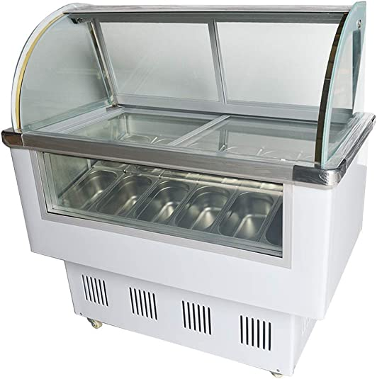 Curved Glass 12-pan Gelato Dipping Cabinet Display Case Freezer