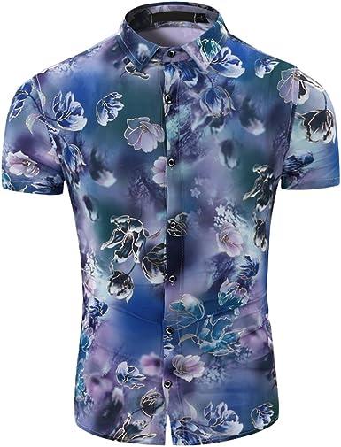 Etecredpow Mens Anchor Print Slim Fit Beach Button Up Short Sleeve Shirts