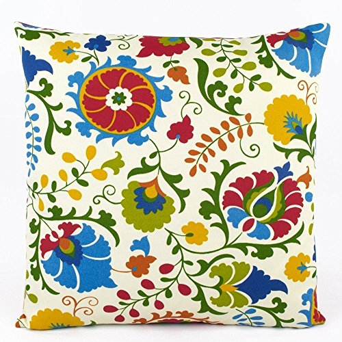 "Floral Pop Tropical and Stripes Outdoor Decorative Handmade Pillow Cover, 20x20"", Reversible, Multicolor, Chloe & Olive"