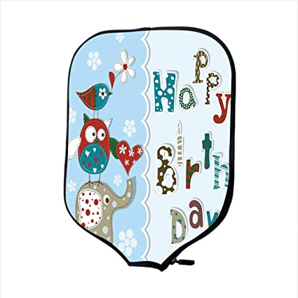 iPrint Neoprene Pickleball Paddle Racket Cover Case,Birthday Decorations for Kids,Patchwork Inspired Owl