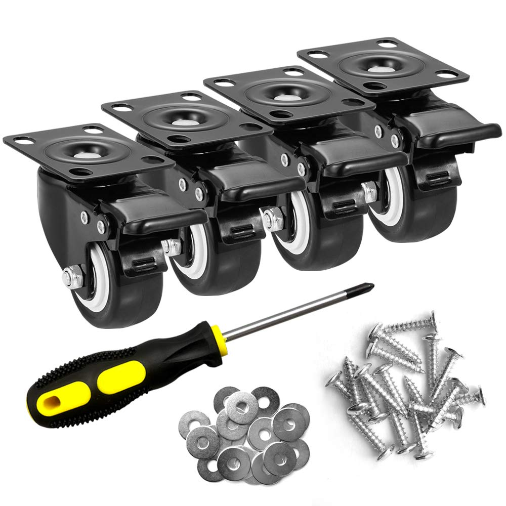 """ASHGOOB 2"""" Caster Wheels Set of 4, Heavy Duty Casters with Brake, No Noise Locking Casters with Polyurethane (PU) Wheels, Swivel Plate Castors Pack of 4"""