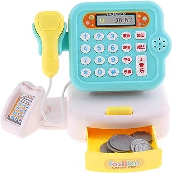 Juguete de Caja Registradora de Supermercado Electrónica de Simulación en Miniatura Juego de Pretender para Niños Niñas - Azul: Amazon.es: Juguetes y juegos