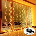 Guaiboshi Safe Voltage 300 LED Curtain Lights Waterfall Window Lights Outdoor Indoor String Lights for Wedding, Party, Home, Living Room Home Decoration