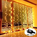 Guaiboshi LED Curtain Icicle Lights, 3m X 3m 300LEDs Outdoor Indoor LED Warm White String Lights for Wedding, Party, Home, Living Room Decoration (UL Listed Power Supply Included - Safe Voltage )