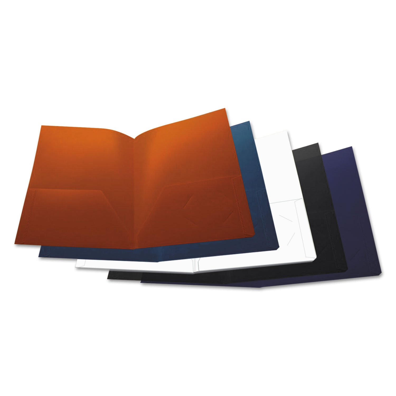 Universal 20545 Two-Pocket Plastic Folders, 11 x 8 1/2, Assorted, 10/Pack