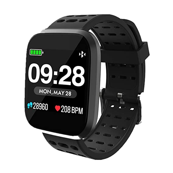 Smart Watch for Android iOS Phone Waterproof Sport Fitness Tracker with All-Day Heart Rate, Sleep Monitor, Message Call Reminder, Ultra-Long Batter ...