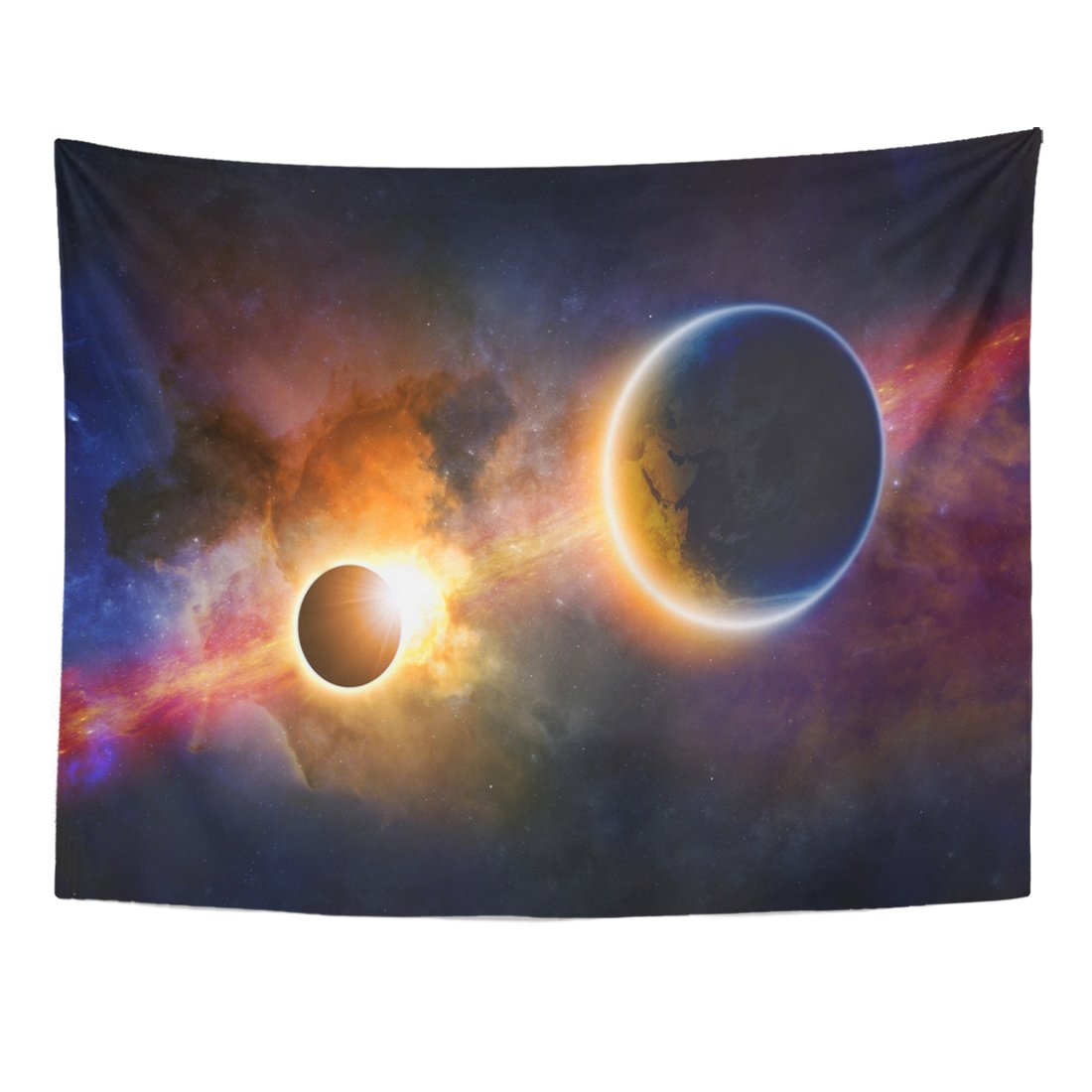 Emvency Tapestry Abstract Scientific Glowing Planet Earth in Space Solar Eclipse Nebula and Stars of This Furnished Home Decor Wall Hanging for Living Room Bedroom Dorm 60x80 inches