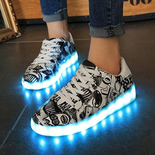 Zapatos ligeros de la pintada LED verano y otoño zapatos ocasionales de la manera cambio de siete colores once clases de modo que destella Black
