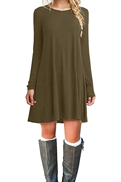 Amazon.com  MOLERANI Women s Casual Plain Long Sleeve Simple T-Shirt Loose  Dress (M 8af784e5f