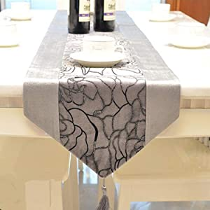HFBlins Dinner Table Runner, Jacquard Bronzing Rose Pattern Table Cover Mat, 13 x 83 Inch Tablecloth Table Decor for Home Kitchen Room and Restaurant (Gray)