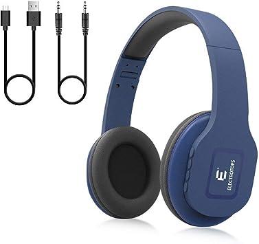 E T Auriculares Bluetooth,Auriculares Inalámbricos con Micrófono Estéreo de Alta Fidelidad Plegable para el oído,Admite Llamadas Manos Libres y Modo Cableado para PC Teléfonos Celulares TV: Amazon.es: Electrónica