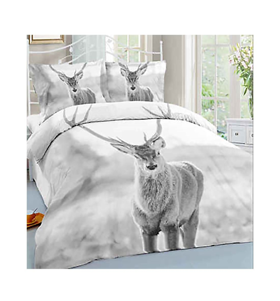 3D Stag Animal Printed Duvet Pillow Quilt Cover Bedding Set Stag Double 21FASHION