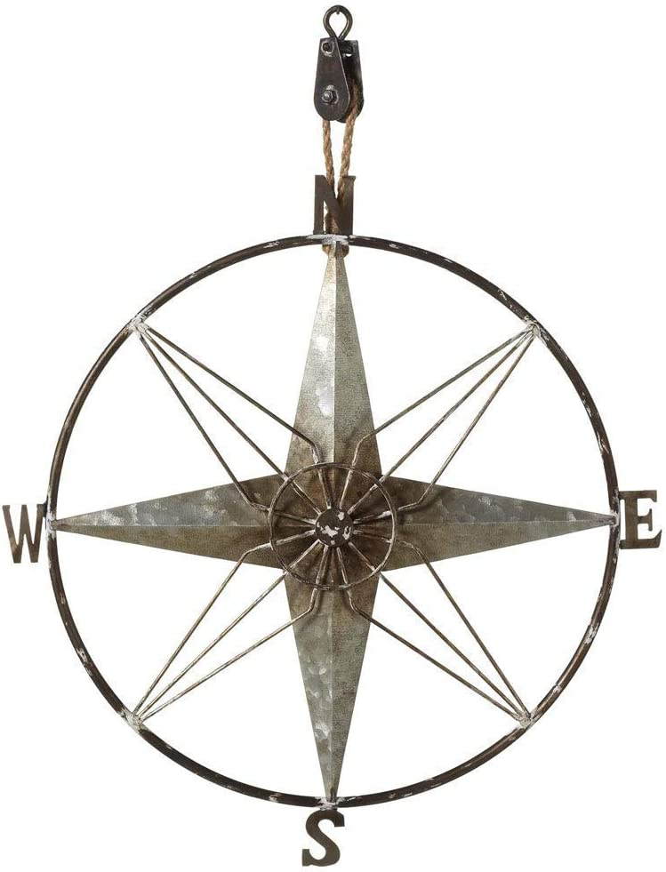 Midwest-CBK Galvanized Metal Compass on Pulley Wall Decor