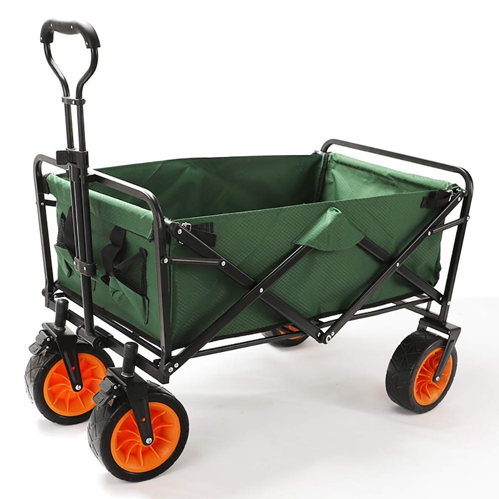 Li hand-trucks LWOO Folding Garden Cart Beach Shopping Cart/Mass Storage/Widening Tire + Brake/Load: 80 Kg/Dark Green (Color : Dark Green) by Li hand-trucks