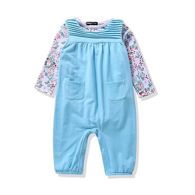 Bebé niñas Pelele, mono infantil de disfraces 2pieza conjuntos Body & peto - Azul -