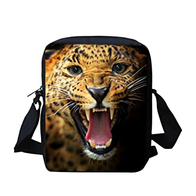 3d Tiger Small Messenger Bag for School Lightweight Travel Satchel Bags
