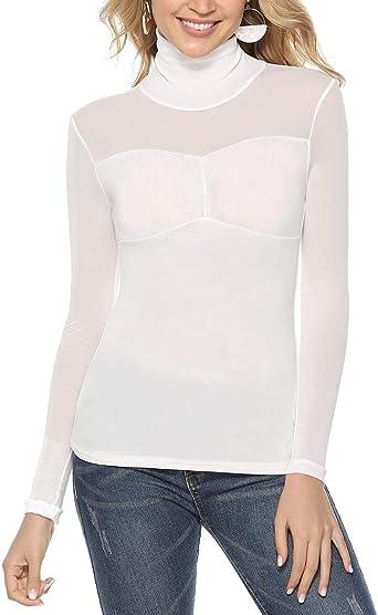 Akalnny Camiseta de Mujer Camisa Manga Larga Transparente con Cuello Alto y Plisado en el Pecho