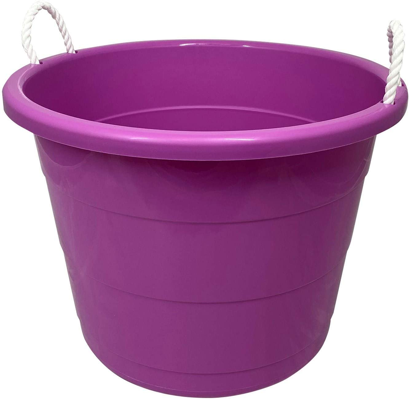 HOMZ Plastic Utility Rope Handled Tub, 17 Gallon, Set of 2, Radiant Orchid, 2 Pack