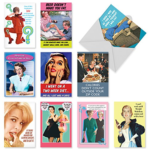 A1249 WEIGHT IS OVER: Assorted Box Of 10 Hilarious Birthday Cards, W/12 Envelopes (10 Designs, 1 Card Per Design)