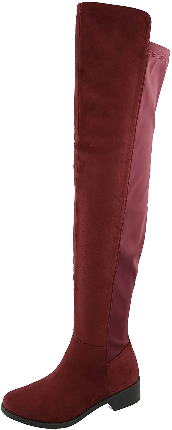 Wine Imsu Cambridge Select Women's Classic Thigh-High Stretch Low Block Heel Over The Knee Boot