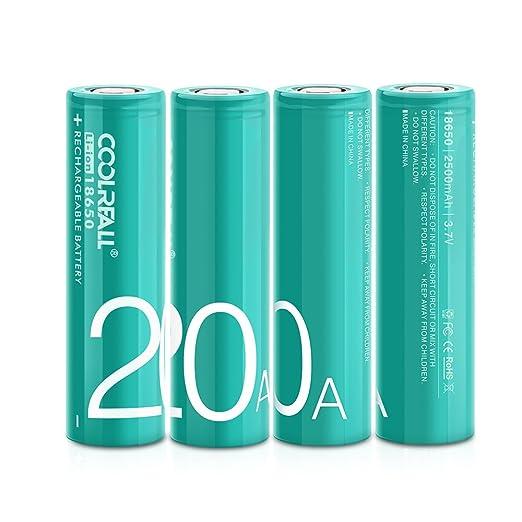 8 opinioni per Batteria 18650,Coolreall Batterie Ricaricabili 18650 (Li-Ion/ 2500 mAh/10C/ 20A/