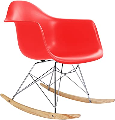 Classic Rocking Chair Rocker Shell Arm Chair Mid Century Molded Armchair Heavy Duty Plastic Red #295