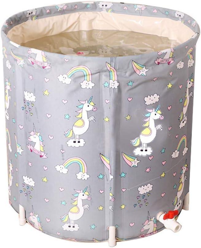 Bañera plegable portátil de plástico para el hogar, spa, masaje, calidad de bañera, piscinas inflables, PVC grueso, 80 – 120 litros, gris, 65 x 70 cm