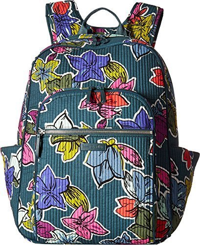 Vera Bradley Iconic Deluxe Campus Backpack, Signature Cotton, Falling Flowers