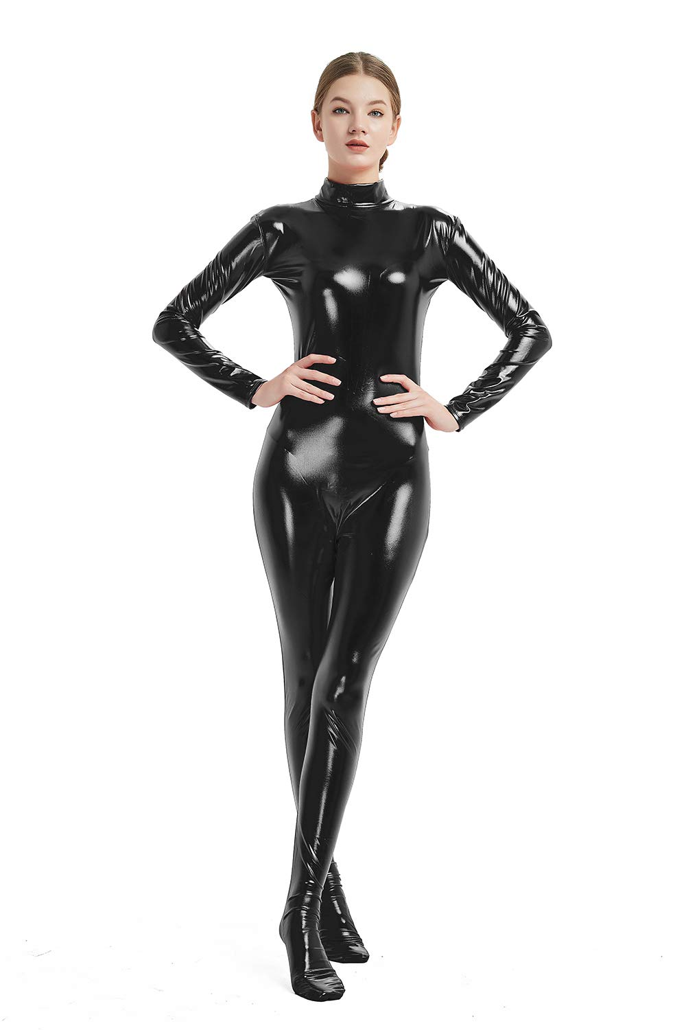 Full Bodysuit Womens Shiny Metallic Without Hood and Gloves Back Zipper Lycra Adult Costume Zentai 61IxzgxOO8L