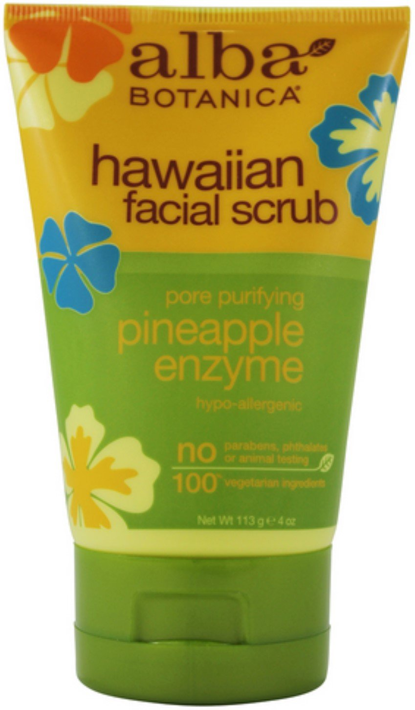 Alba Botanica Hawaiian Facial Scrub, Pore Purifying Pineapple Enzyme 4 oz (Pack of 10)